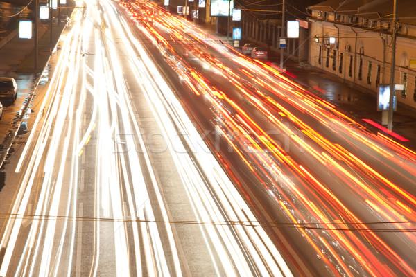 Notte strada traffico offuscata luci sfondo Foto d'archivio © sailorr