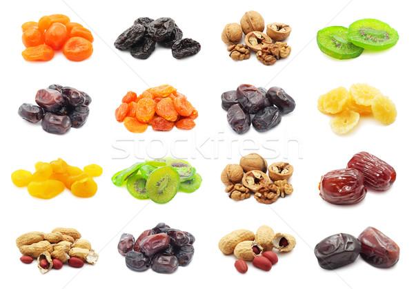 Foto stock: Secas · frutas · coleção · isolado · branco · natureza