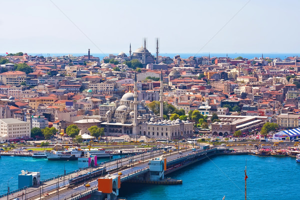 Arany duda Isztambul híd Törökország égbolt Stock fotó © sailorr