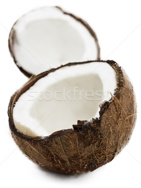 Photo stock: Fraîches · coco · blanche · isolé · fruits · fond