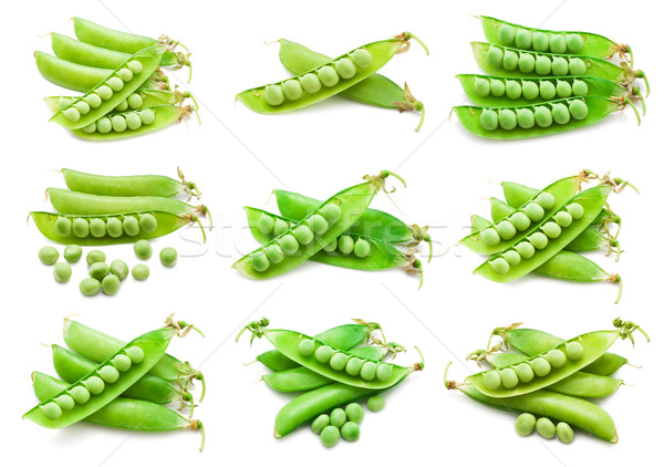 Collectie vers groene erwten geïsoleerd witte Stockfoto © sailorr