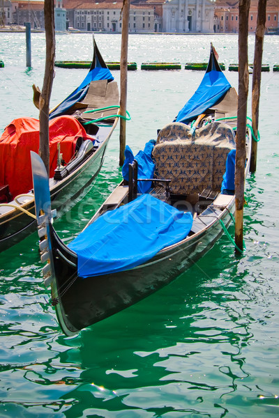 Gondolas in Venice canal Stock photo © sailorr