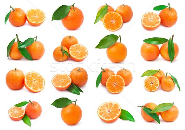 Stockfoto: Collectie · sappig · geïsoleerd · witte · voedsel · oranje