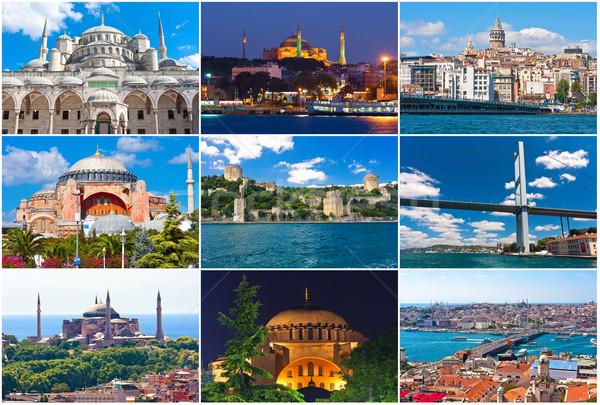 Isztambul gyűjtemény gyönyörű fotók Törökország híd Stock fotó © sailorr