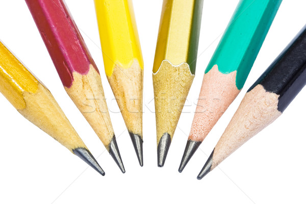Potloden grafiet potlood witte geïsoleerd groene Stockfoto © sailorr