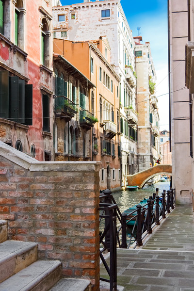 Canal belle ponts Venise Italie Photo stock © sailorr
