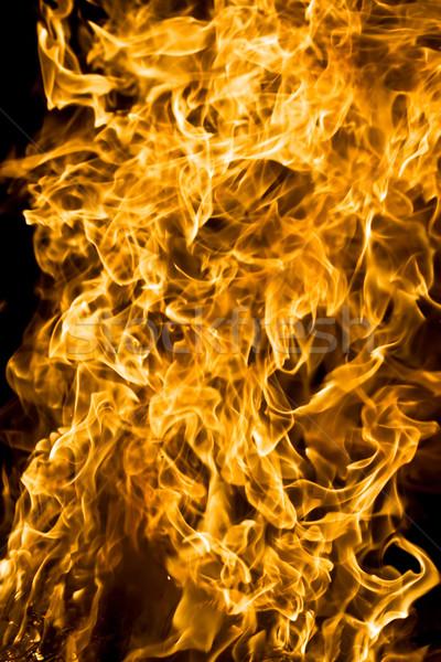 ストックフォト: 火災 · 美しい · 炎 · 黒 · 木材 · 壁