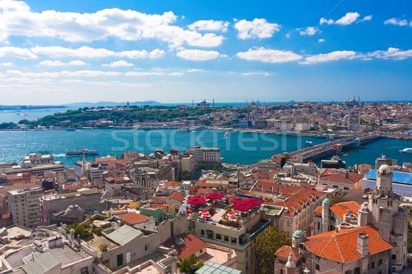 Arany duda Isztambul panorámakép kilátás torony Stock fotó © sailorr