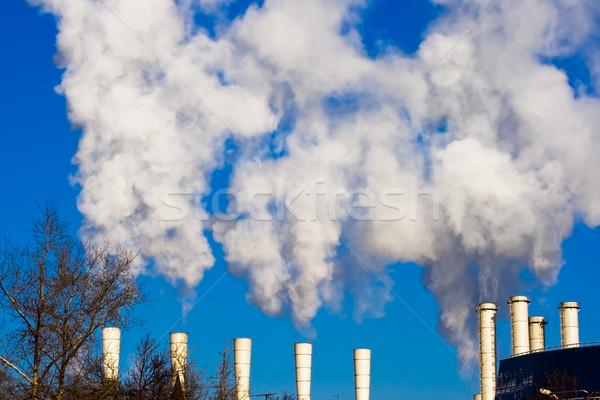 Ar poluição fábrica branco fumar Moscou Foto stock © sailorr