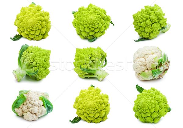 Karfiol brokkoli gyűjtemény izolált fehér étel Stock fotó © sailorr