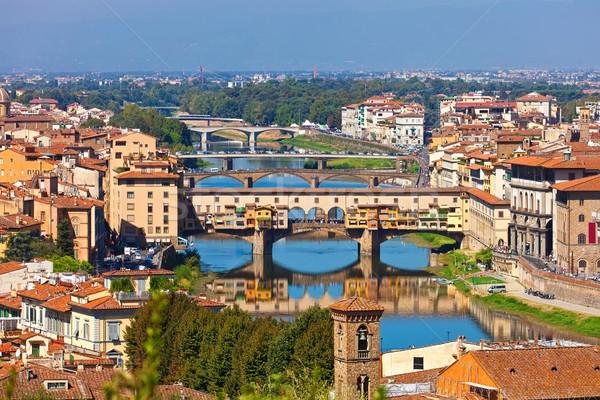 Florence panoráma hidak város Olaszország víz Stock fotó © sailorr