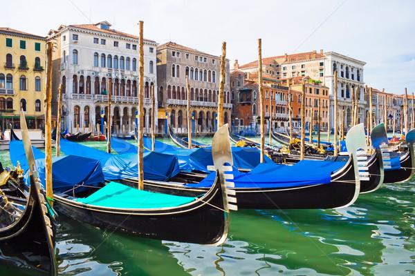 Gondol Venedik tekneler kanal İtalya gökyüzü Stok fotoğraf © sailorr