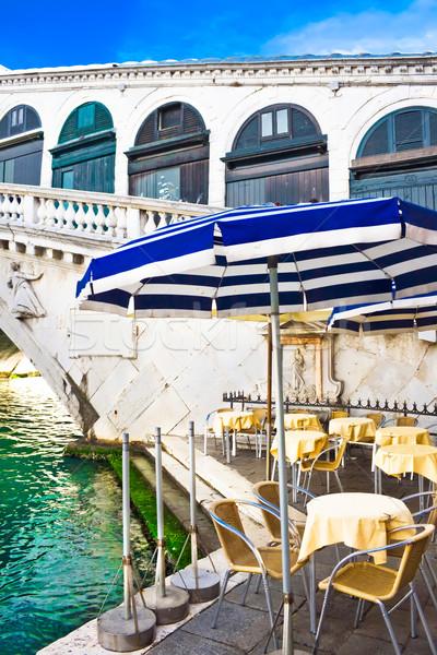 A cafe near bridge Rialto in Venice Stock photo © sailorr