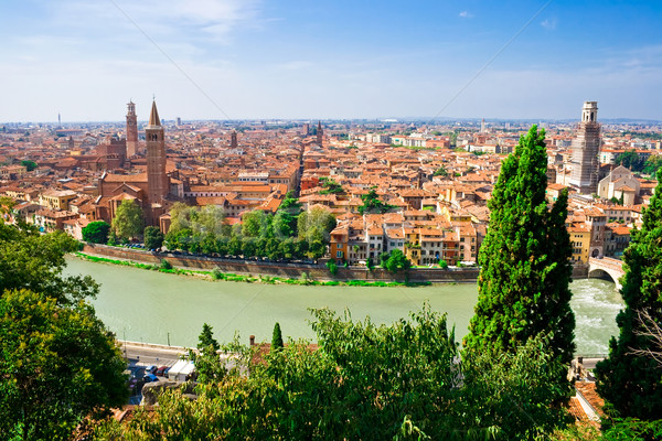 Verona panorâmico ver alto colina Itália Foto stock © sailorr