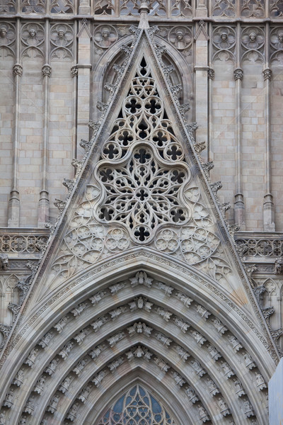 Gothic kathedraal Barcelona details beroemd Stockfoto © sailorr