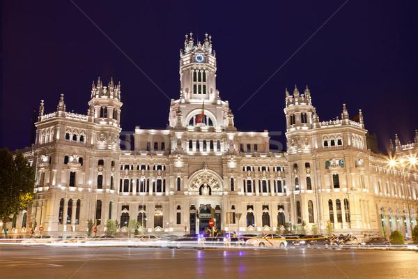 дворец Мадрид центральный почтовое отделение квадратный Испания Сток-фото © sailorr