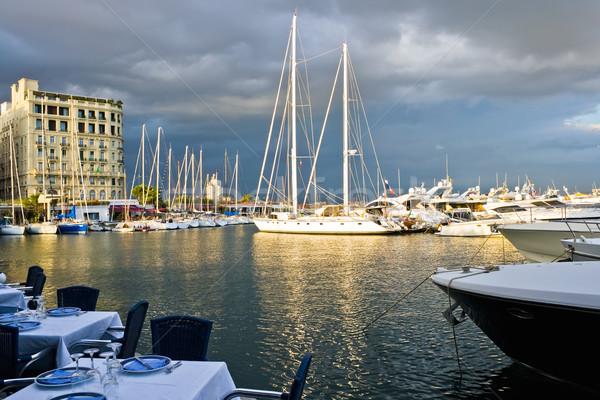 Foto stock: Nápoles · porta · restaurante · Itália · esportes · mar
