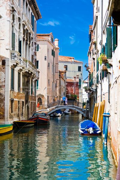 Kanal Venedik yeşil mavi su tipik Stok fotoğraf © sailorr