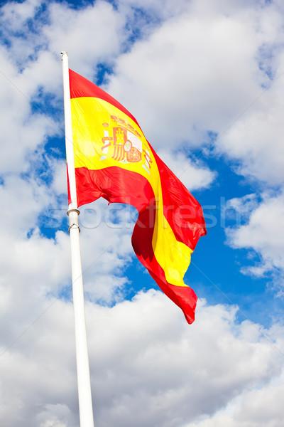 испанский флаг флаг Испания Blue Sky движущихся ветер Сток-фото © sailorr
