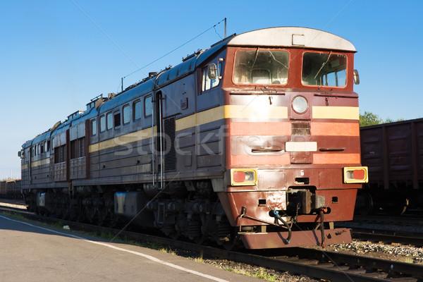 локомотив современных железная дорога природы поезд красный Сток-фото © sailorr