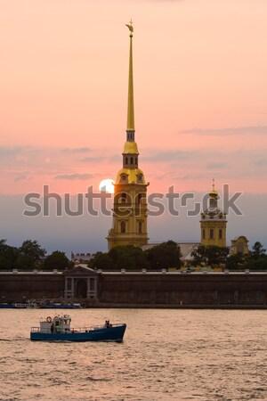 Fortezza santo cielo città tramonto chiesa Foto d'archivio © sailorr