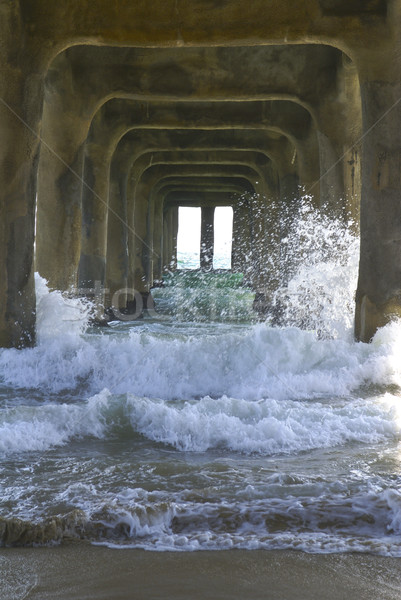 Waves Under the Pier Portrait Stock photo © saje