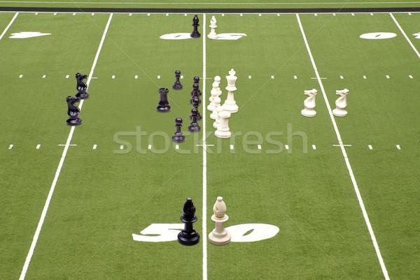 Sakk futball játék sakkfigurák felfelé játékosok Stock fotó © saje