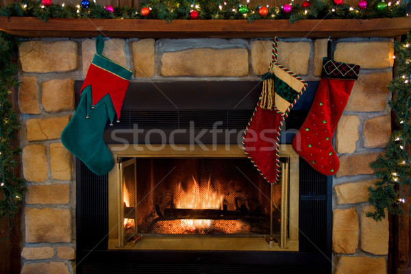 Рождества три чулки подвесной камин домой Сток-фото © saje