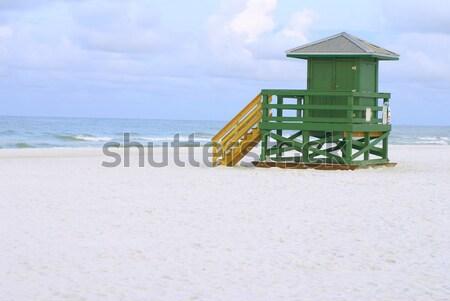 Badmeester hut Rood houten lege ochtend Stockfoto © saje