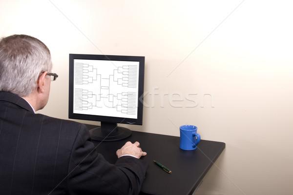 őrület üzletember öltöny néz monitor üzletember Stock fotó © saje