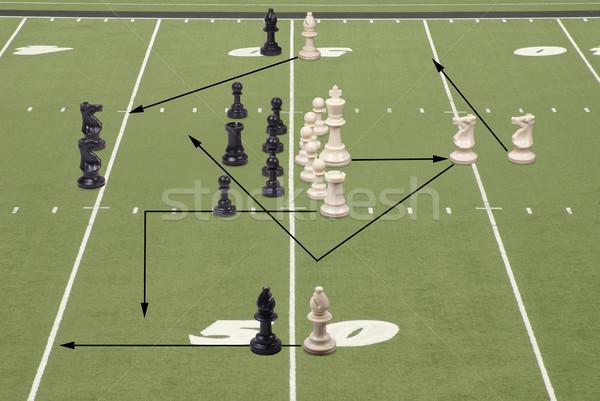 Ajedrez fútbol 50 línea jugar piezas de ajedrez Foto stock © saje