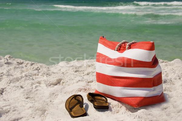 Sandalen zand oceaan strand landschap Stockfoto © saje