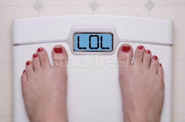 Schaal voeten lol digitale tekst Stockfoto © saje