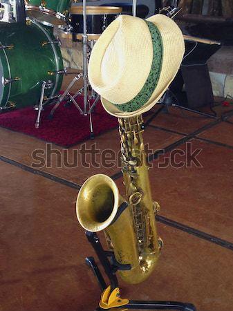 Stok fotoğraf: şapka · saksofon · hasır · şapka · saksofon · sahne