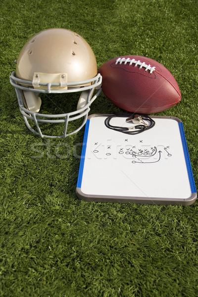 Football Helmet Ball Clipboard and Whistle Portrait Stock photo © saje