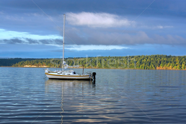 Sailboat Anchored Upper Left Stock photo © saje