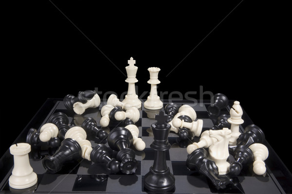 Chess Battle Black and White Scattered Stock photo © saje