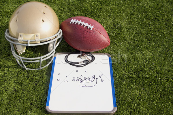 Football Helmet Ball Clipboard and Whistle Landscape Stock photo © saje