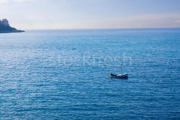 Rybaka mały łodzi gruntów horyzoncie człowiek Zdjęcia stock © saje