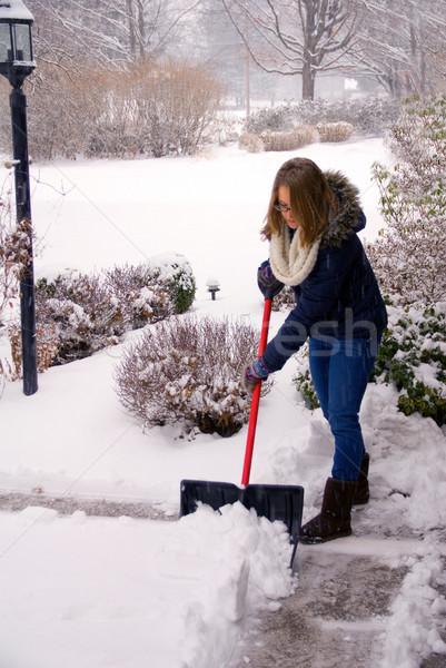Kar genç kadın ev çalışmak sokak kış Stok fotoğraf © saje