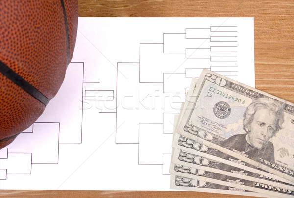 March Madness Basketball Bracket and Fanned Money Stock photo © saje