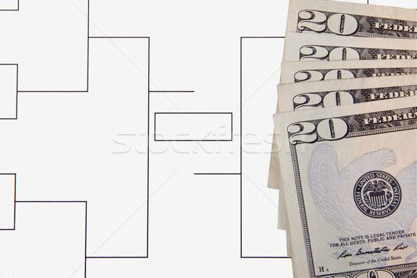 őrület végső négy húsz dollár bankjegyek közelkép Stock fotó © saje