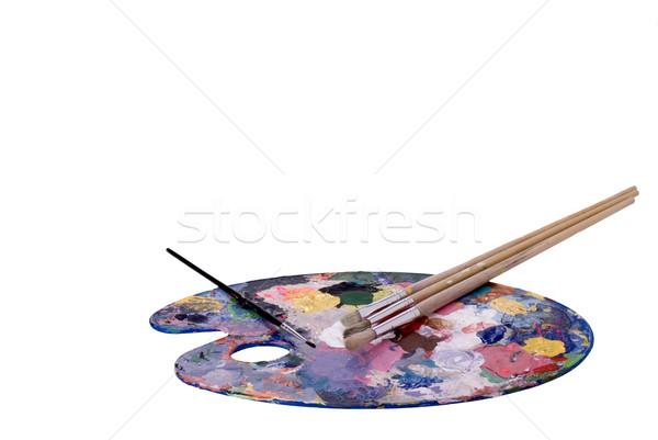 Künstler Palette malen Kunst grünen Pinsel Stock foto © saje