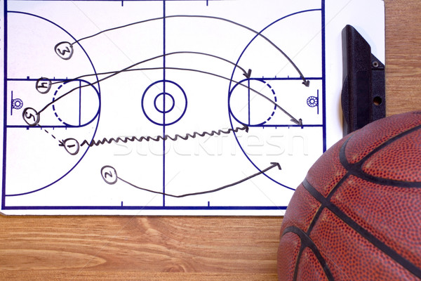 Basketball Fast Break Diagram and Ball Stock photo © saje