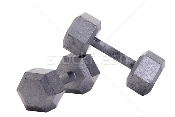 Stacked Metal Hex Dumbbells Stock photo © saje
