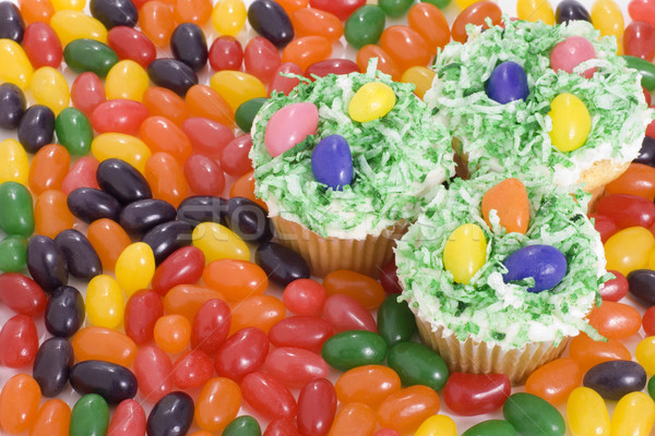 Easter Cupcakes and Jelly Beans Stock photo © saje