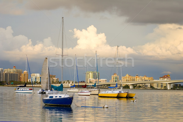 Boats in Harbor Under Cloudy Skies Stock photo © saje