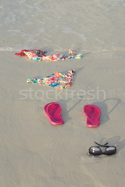 Skinny Dipping Bikini on Beach Stock photo © saje