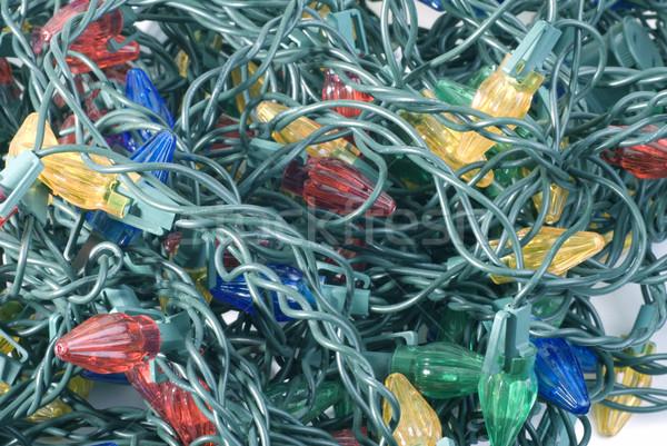 Natale mess luci verde elettrici filo Foto d'archivio © saje
