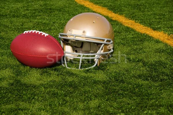 Football Helmet and Ball Near Goal Line Stock photo © saje